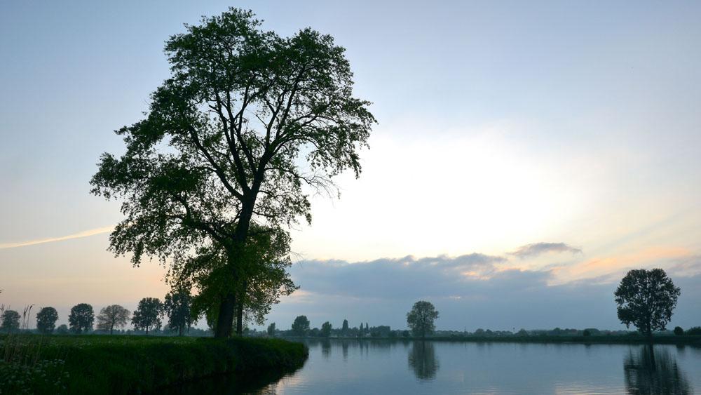 Gezicht op de Maas bij Ooijen in de schemering van18 mei. (Foto HJ Lirb)