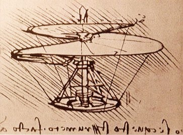 """Leonardo da Vinci's ontwerp van een """"helische luchtschroef"""" (""""elice spiraalt""""), circa 1500. Een vergezicht op de latere helicopter (hefschroefvliegtuig)"""