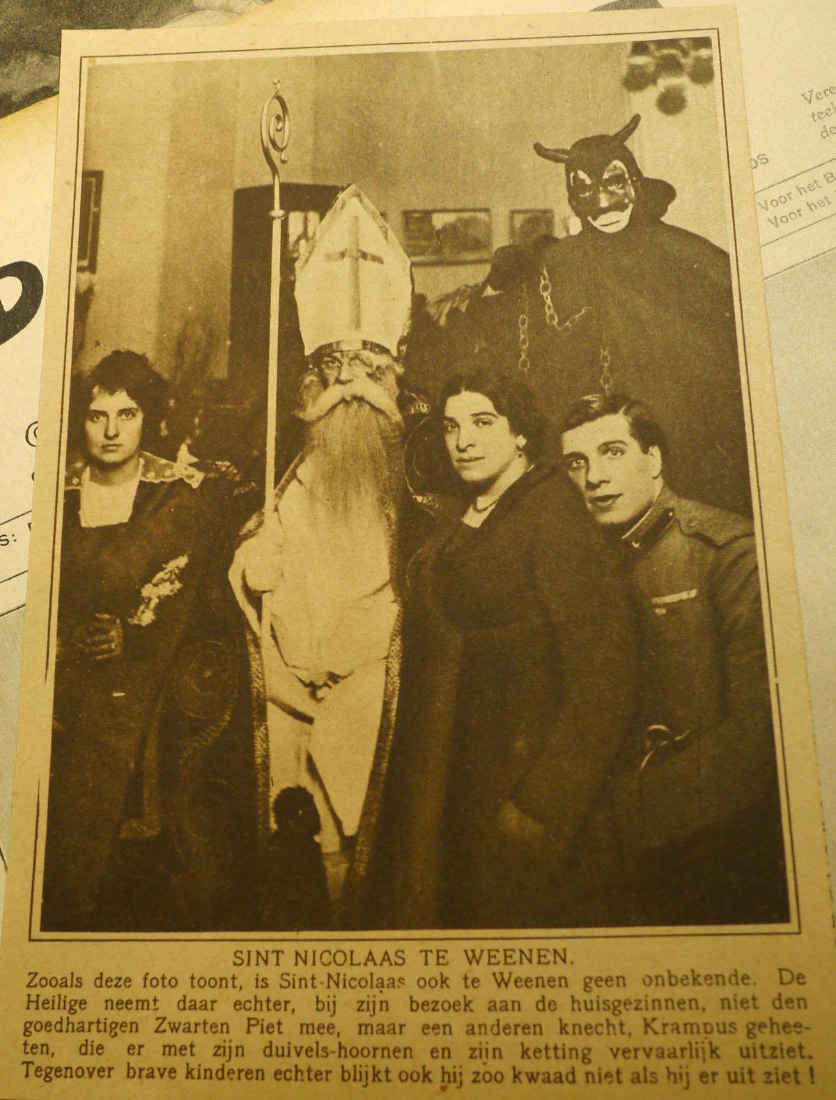 """Katholieke Illustratie van 4 december 1920. Het personage """"Krampus"""" draagt ketenen. (Knipsel uit eigen collectie)"""