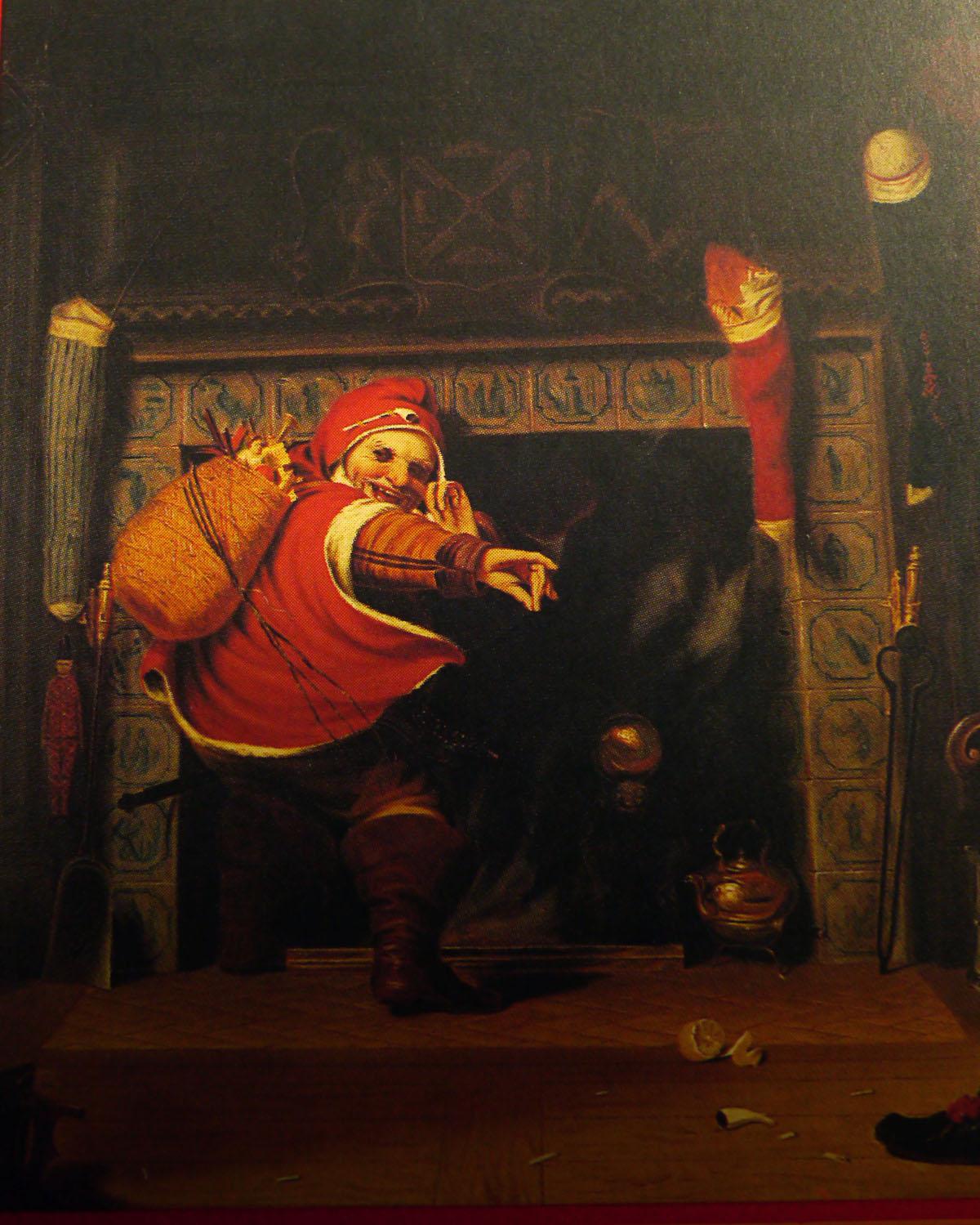 """Robert Walker Weir, """"Santa Claus, or St. Nicholas"""", West Point 1837. Schilderij zou een traditionele Nederlandse """"Santa Claus"""" uit Manhattan tonen in een scene compleet met onder andere Delfstblauwe tegels, het stadswapen van Nieuw-Amsterdam en het half aangevroten appeltje van oranje. (Eigen foto gemaakt van de omslag van James Kirk Paulding, Stories of Saint Nicholas, Syracuse University Press, 1995)"""