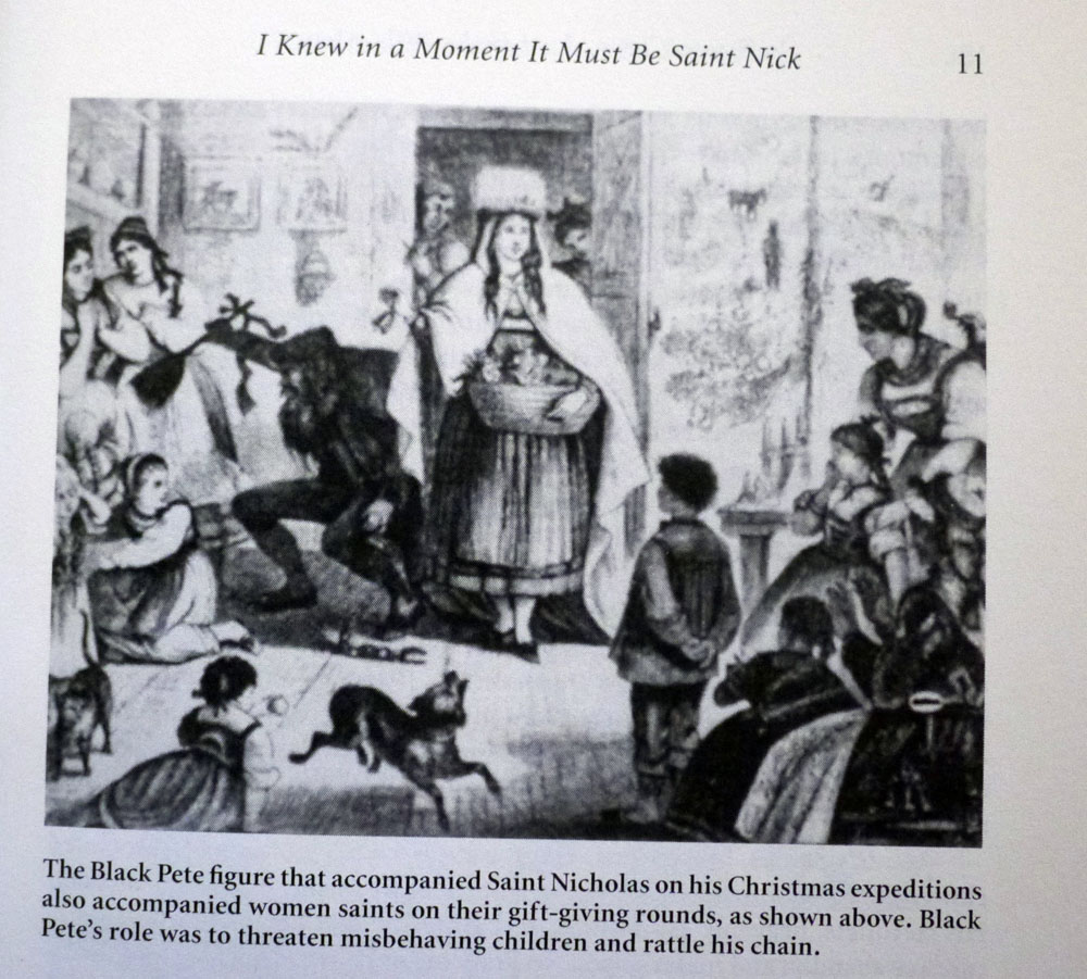 Ongedateerde illustratie van een Zwarte Piet of Sint Nicolaas zelf – een duivels manneke in ieder geval – die kinderen angst aanjaagt (Foto van de afbeelding op pagina 11 van Siefker's boek Santa Claus, Last of the Wild Men 1997)