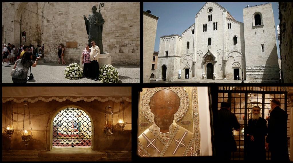 Collage van screenshots van eigen videomateriaal gedraaid in 2012 in de San Nicola te Bari
