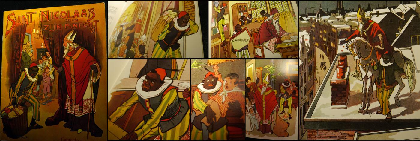 Plaatjes uit de heruitgave van Schenkman's Sinterklaas en zijn knecht uit het begin van de 20e eeuw met de illustraties van P.J. van Geldorp (collage van eigen foto's van een uitgave uit de 1970er jaren)