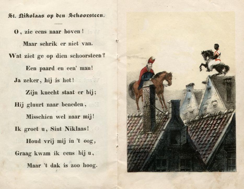 """Jan Schenkman, """"Sint Nikolaas en zijn knecht"""", uitgegeven door Gerrit Theodoor Bom te Amsterdam, omstreeks 1850."""
