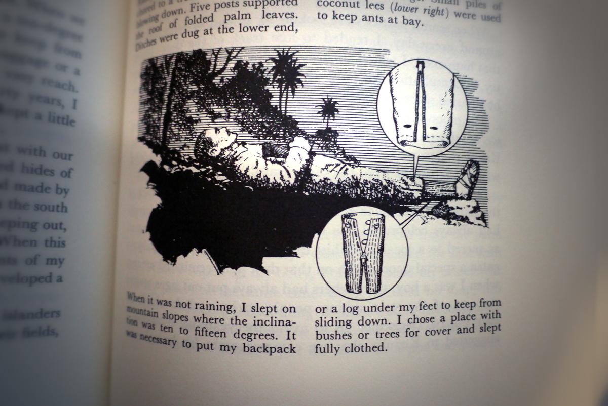 Bladzijde uit het boek van Onoda. Hij sliep gekleed op de hellingen met een verhoging onder zijn voeten om niet weg te glijden.