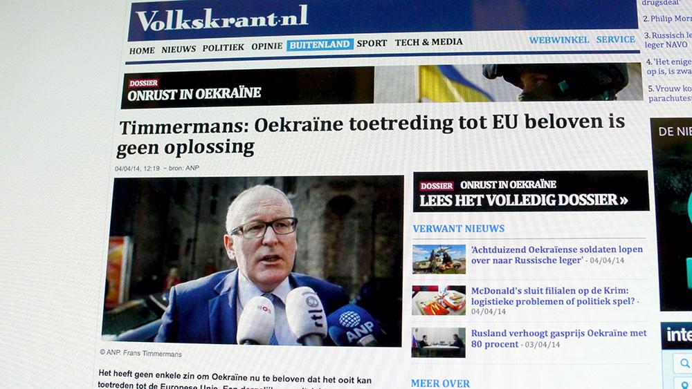 Schermopname van De Volkskrant Online 4 april 2014