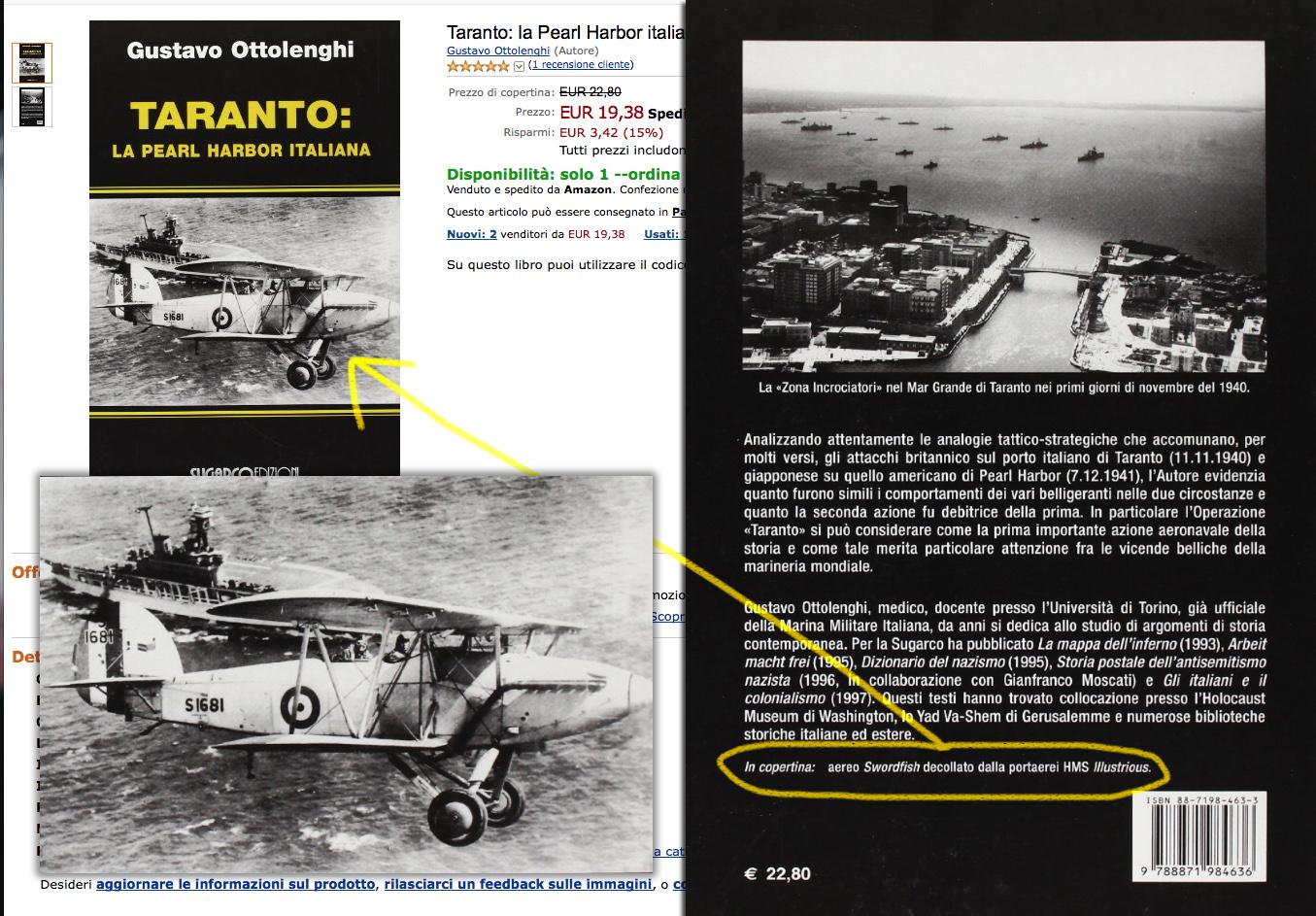 Het boek van Gustavo Ottolenghi geafficheerd bij de Italiaanse Amazon. De achterflap toont niet het juiste toestel noch het juiste schip (Collage van schermopnames door H.J. Lirb)