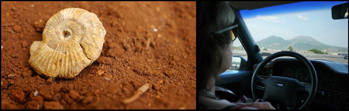 Links: Vergelijkbaar fossiel van een  ammoniet, een intvisachtig zeeschaaldier, uit de privécollectie van S.J. Lirb, gefotografeerd voor deze gelegenheid in de rode aarde van Apulië. Foto ©2015 H.J. Lirb. Rechts: Feliz rijdt door Napels met de Vesuvius in de achtergrond.©2012 HJ Lirb
