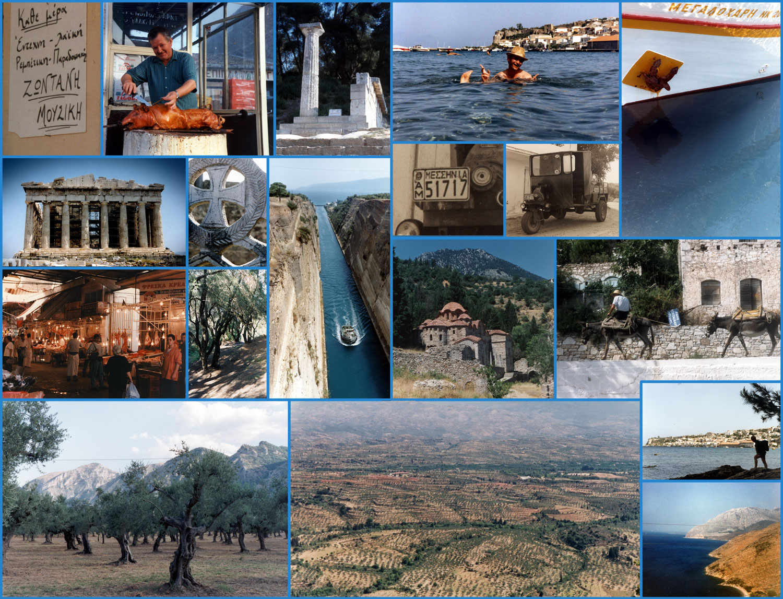 Collage van oude foto's genomen in Griekenland - Athene, Korinthe, Koroni, Olympia, Sparta, Kerkyra... ©2015 Huib J. Lirb