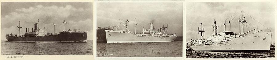 Collage van ansichtkaarten van de schepen Waterman; Zuiderkruis en Groote Beer in de vroeg 1950er jaren