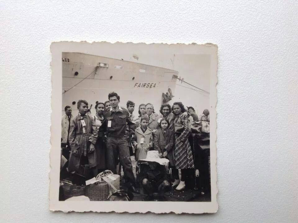 De familie V. is zojuist ontscheept van de Fairsea uit voormalig Nederlands Indië in Rotterdam op 4 of 5 juli 1950. (Foto via Edwin V.)