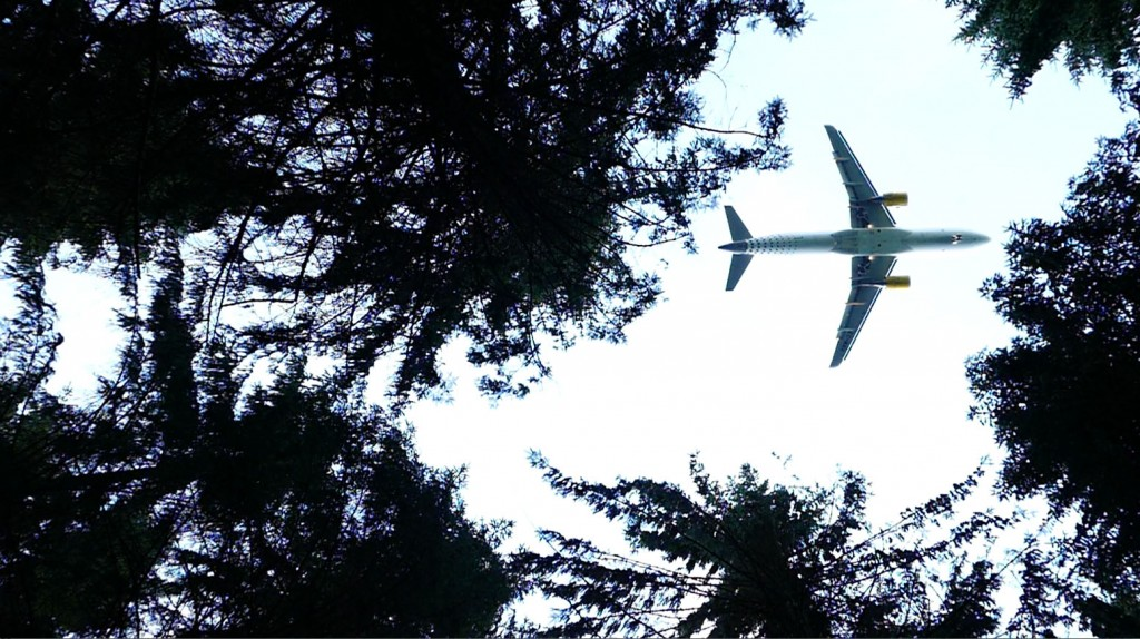 Vliegtuig boven Amsterdamse Bos ©2016 Huib J. Lirb