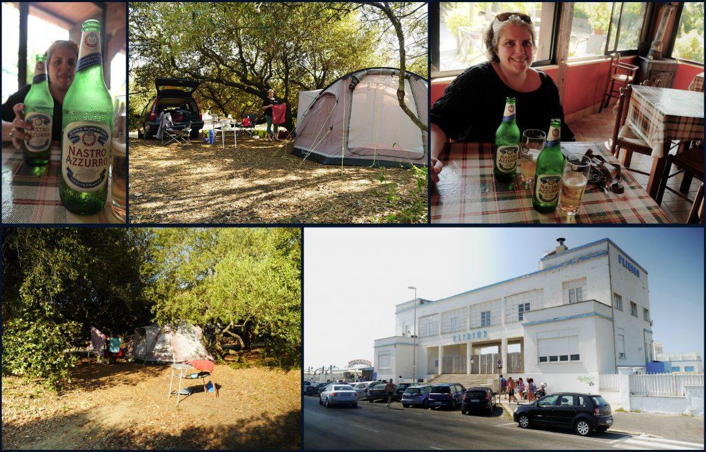 """Collage van beelden van de camping in Castel Fusano (kampementje en de bar) met de monumentale strand-uitspanning """"Plinius"""" op korte afstand in het naburige Ostia (©2015 Huib J. Lirb)"""