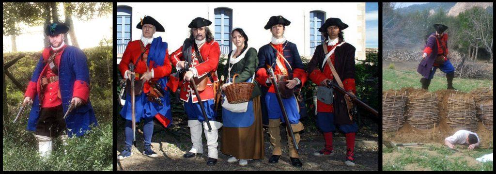 """Recreador d'un miquelet del Regiment de Fuselles de Muntanya de Vilar i Ferrer. Foto's links en rechts van gebuiker """"Coltell"""" en foto midden van """"Vakopd"""", geplaatst voor rechtenvrij hergebruik CC op Wikimedia"""