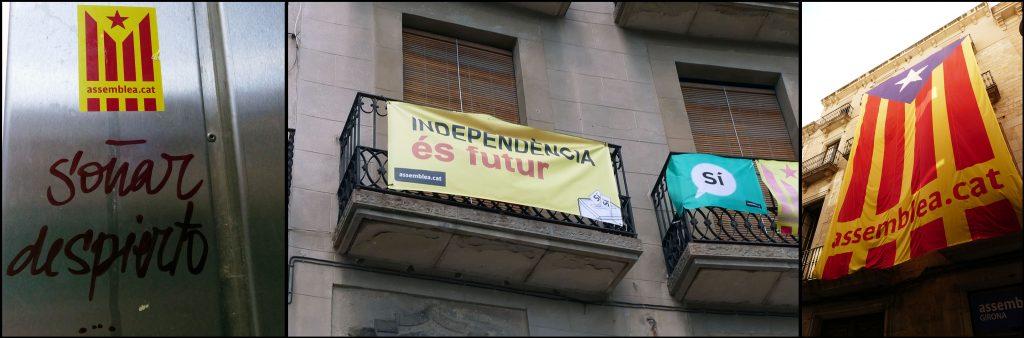 Uitingen van het Catalaanse onafhankelijksstreven in aanloop tot het referendum van 1 october 2017. Foto's uit Vic en Gerona. ©2017 Huib J. Lirb