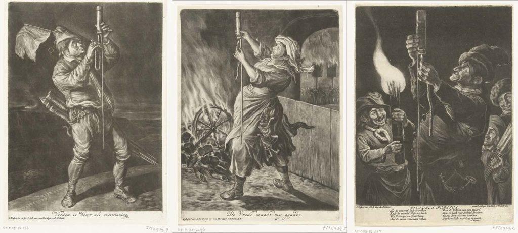 """Drie gravures van (of naar) Cornelis Dusart uit (of kort na) 1695 waarin we zien hoe """"volkse"""" individuen, twee keer een man en een keer een vrouw, vuurpijlen afsteken in de algemene blijdschap om de inname van Namen door stadhouder Willem III, koning van Engeland, in september 1695 (Rijksmuseum Amsterdam RP-P-BI-7288, RP-P-OB-82.867 en voor de vrouw RP-P-BI-7296)."""