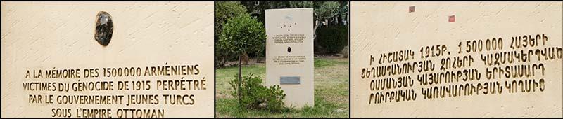 Armeense Genocide Monument gedateerd 2008 aan de kop van het stadspark van Arles, gefotografeerd in augustus 2017 ©2017 Huib J. Lirb