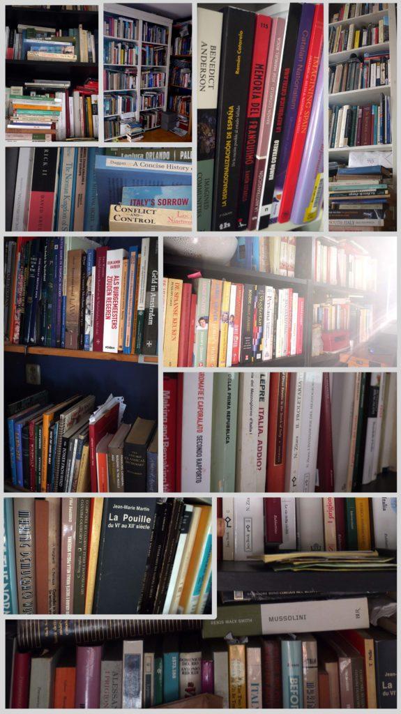Beelden van mijn boekenkasten beneden op 9 mei 2018