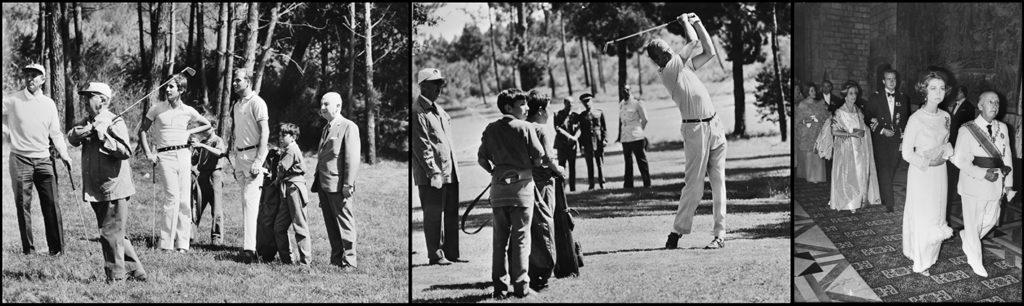 """Links en Midden: Fascistisch dictator Francisco Franco aan het golfen met zijn """"kroonprins"""" Juan Carlos, 24 augustus 1970 (Nationaal Archief - Anefo, nrs. 923-7748 en 923-7749) Geheel rechts: Generaal Franco en Prins Juan Carlos en hun echtgenotes woonden diner bij in Barcelona op 7 juli 1970 (Nationaal Archief - Anefo 923-6503)"""