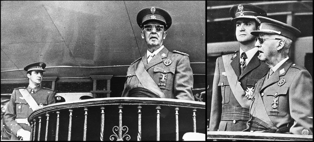 Links: Prins Juan Carlos de Bourbon en Generaal Franco zien op 5 juni 1969 de parade toe waarmee het regime vierde dat Franco 30 jaar tevoren de burgeroorlog ( 1936 1939 ) won. Links: Franco en Juan Carlos op hetzelfde balkon op 23 oktober 1975 (Nationaal Archief - Fotocollectie Anefo bestanddeelnummers 922-4913 en 928-2237)