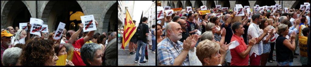 Beelden van de wekelijkse demonstratie (in dit geval d.d. 30 juli 2018) tegen de vervolging van Catalanisten voor het gemeentehuis van Girona ©2018 Huib J. Lirb
