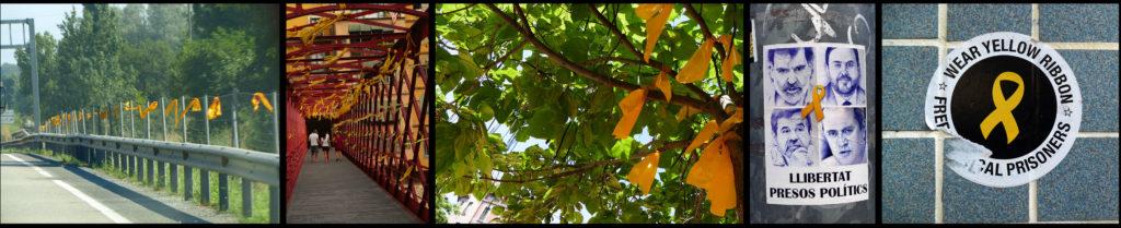 Linten langs de snelweg tussen Tona en Vic. Linten aan de brug van Eiffel over de Onyar in Girona. Linten aan een boom in Vic. Portretten van vier van de politieke gevangenen (Jordi Cuixart, Oriol Junqueras, Jordi Sanchez en Joaquim Forn) op een lantaarnpaal. Een sticker in Girona. Alle foto's ©2018 Huib J. Lirb