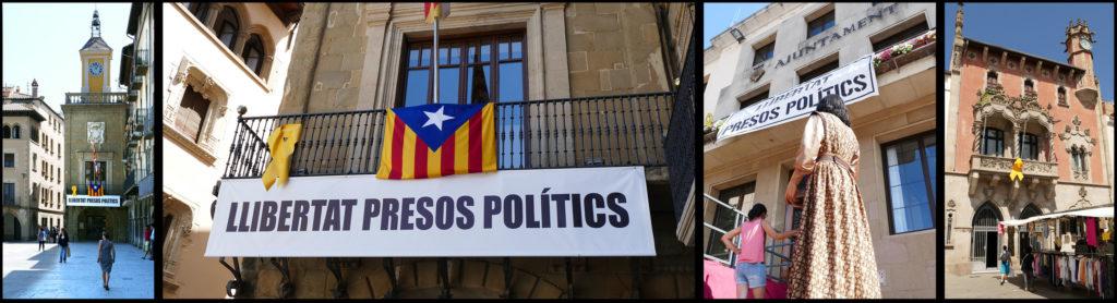 """Links en tweede van links: het gemeentehuis (l'Ajuntament) van Vic aan het Plaça Major, met de klokketoren, voorzien van spandoek (""""Vrijheid Politieke Gevangenen"""") met bijbehorend geel lint (""""llaç groc"""") en de estelada. Tweede van rechts: spandoek met geel lint aan het gemeentehuis van La Garriga met op de voorgrond een """"Gegant"""" (die overigens ook, hier evenwel niet zichtbaar, een geel lintje opgespeld had gekregen). Geheel rechts: een """"llaç groc"""" aan het balkon van het gemeentehuis van Granollers. Alle foto's ©2018 Huib J. Lirb"""