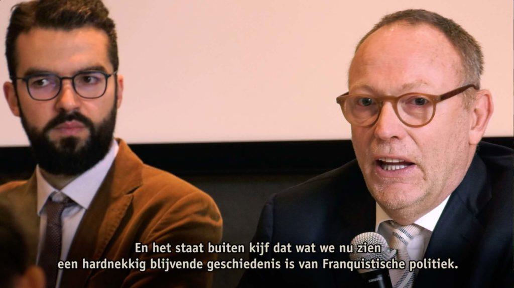 Ben Emmerson over de doorwerking van het Franquisme diep in het Spaanse staatsbestel (videobeeld van de voordracht)