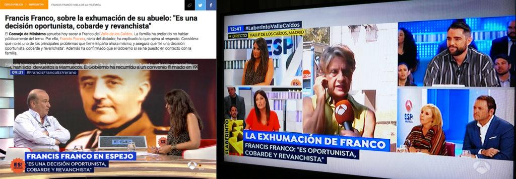 Collage van schermopnames van Spaanse nieuwsuitzendingen van 24 augustus 2018 met de verontwaardigde reactie van de aanhangers van Franco – links zelfs van zijn kleinzoon – over de voorgestelde opgraving van het graf van de dictator.