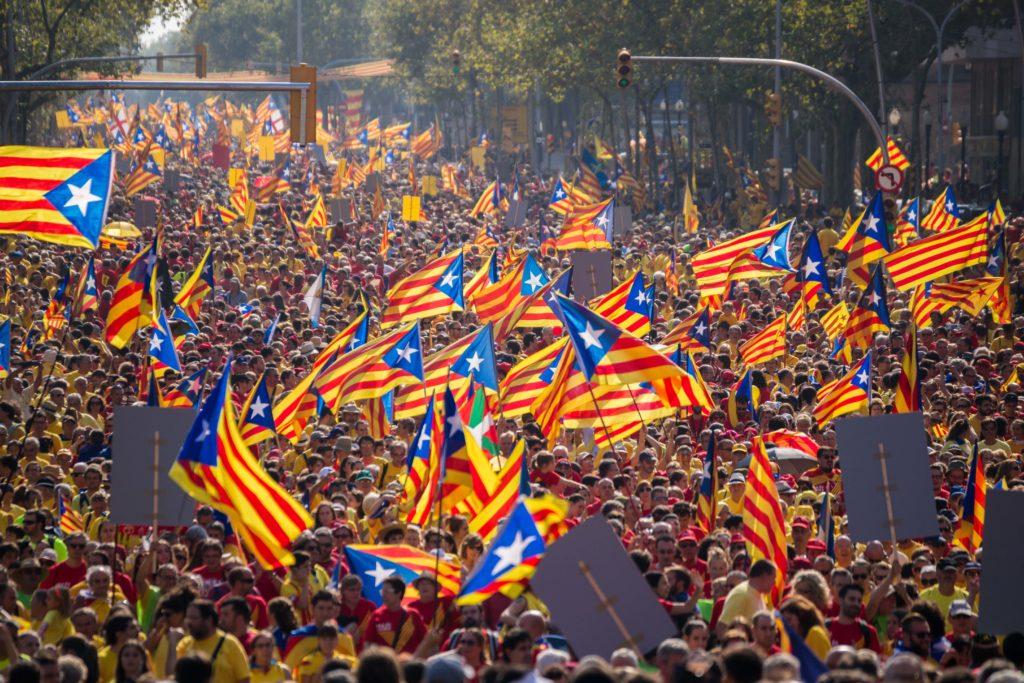 """Beeld van de """"Diada"""" van 11 september 2014 met naar schatting 1,8 miljoen mensen (Shutterstock - Oscar Garriga Estrada)"""