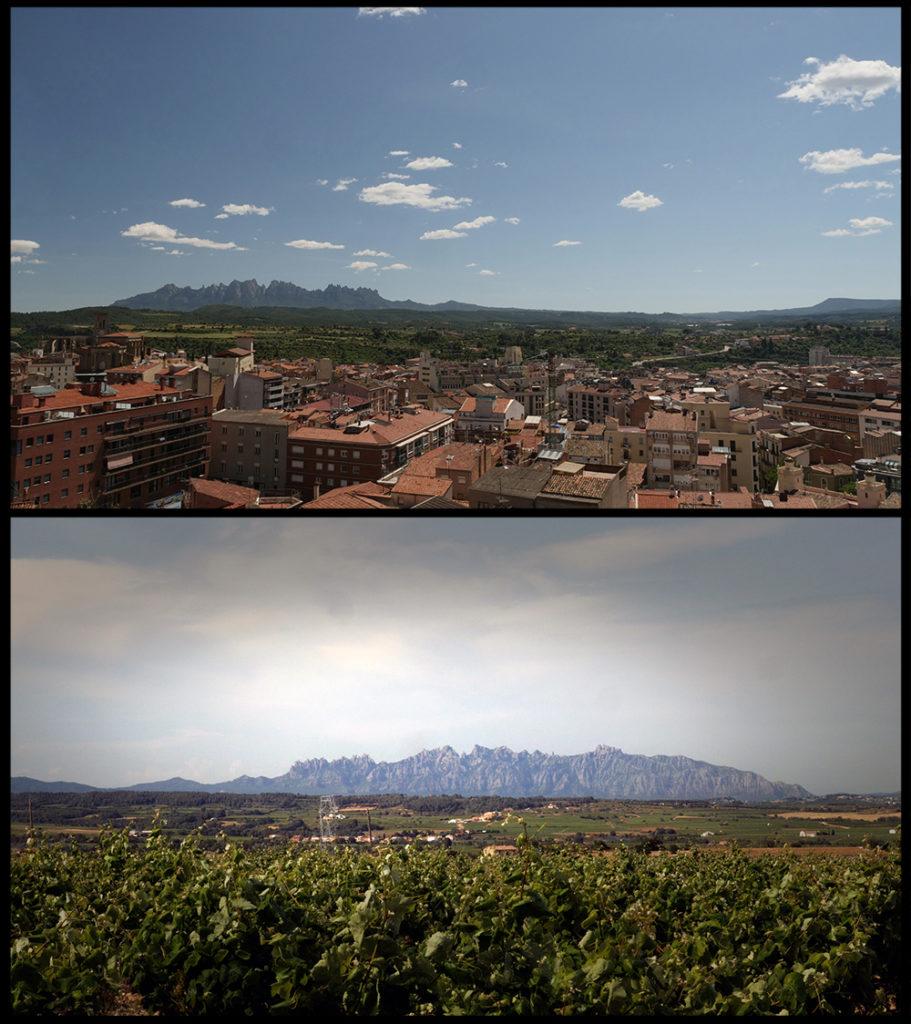 Montserrat bezien vanuit Manresa en vanuit Sant Sadurní d'Anoia (©2019 Huib J. Lirb)